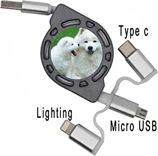 Babu Building Shatterproof for Girl Use for USB Cable Design Samoyed Dog Flexible Cable