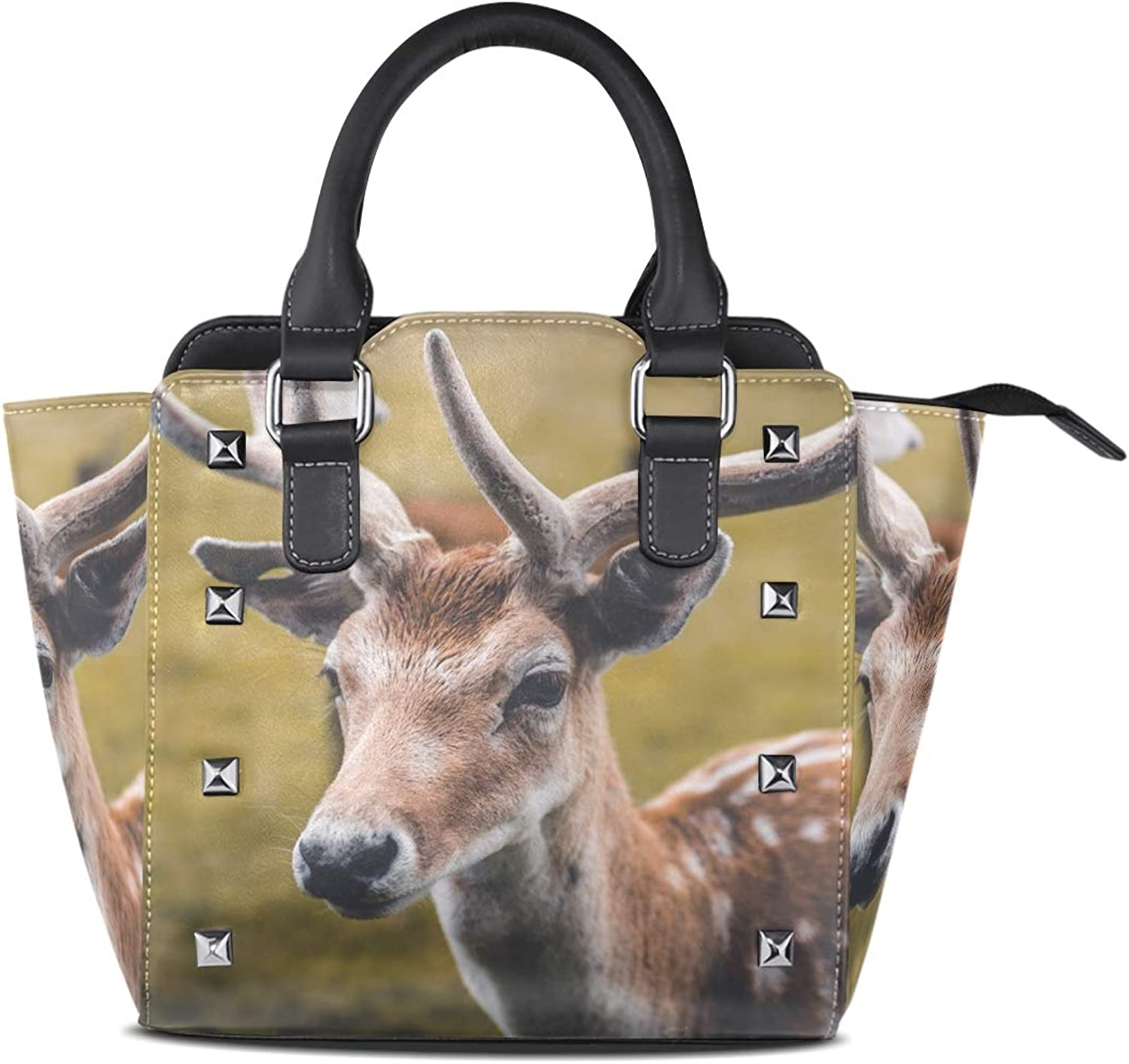 Leather Cute Deer Rivet Handbags Tote Bag Shoulder Satchel for Women Girls