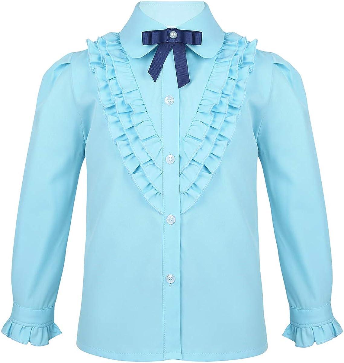 ranrann Kids Girls Princess Bargain Bow Uniforms Ruffled T-Shirt School shipfree