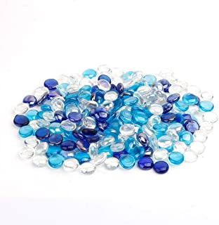 Stanbroil 10-Pound 1/2 Fire Glass Drops Blended Cobalt Blue, Crystal Ice, Caribbean Blue Luster for Indoor and Outdoor Gas Fire Pits and Fireplaces