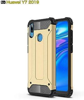 tinyue® Armadura Series TPU + PC Doble protección Funda Anti caída a Prueba de Golpes Duradero Phone Case para Huawei Y7 2019 Smartphone Dorado