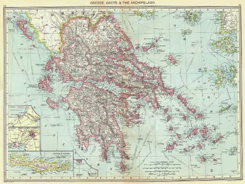 Greece. Crete & Archipelago; maps of Corinth Canal; Piraeus & Athens; - 1907 - Old map - Antique map - Vintage map - Printed maps of Greece