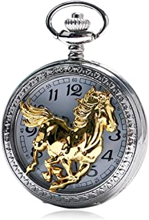 Gold Pocket Watch for Men,Quartz Chinese Style Zodiac Running Golden Horse Pattern Pocket for Male, Bussiness Wishes Gift for Men Women