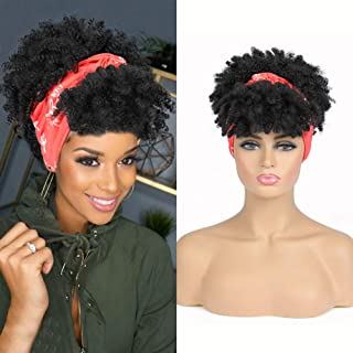 Short Afro Curly Wig Wrap Wigs for Women Kinky Curly Headband Wig with Bangs Short Hair Wig Synthetic Puff Afro Bun Clip i...