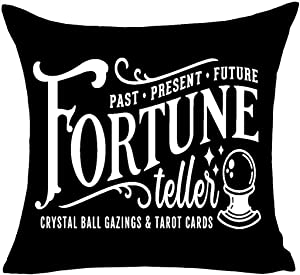 MFGNEH Past Present Future Fortune Teller Crystal Ball Gazings&Tarot Cards Halloween Pillow Covers 18x18,Halloween Decorations Cotton Linen Cushion Covers for Sofa,Black