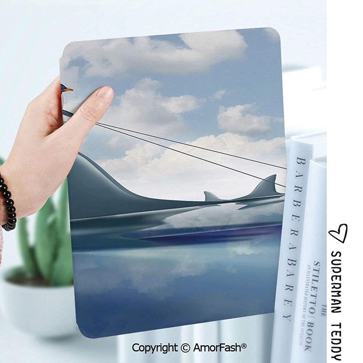 Case for Samsung Galaxy Tab A 8.0 2017 Release for T380/T385,Auto Wake/Sleep,Shark Fear Management Leadership Concept with A Penguin Holding Shark Humor Design Decorative