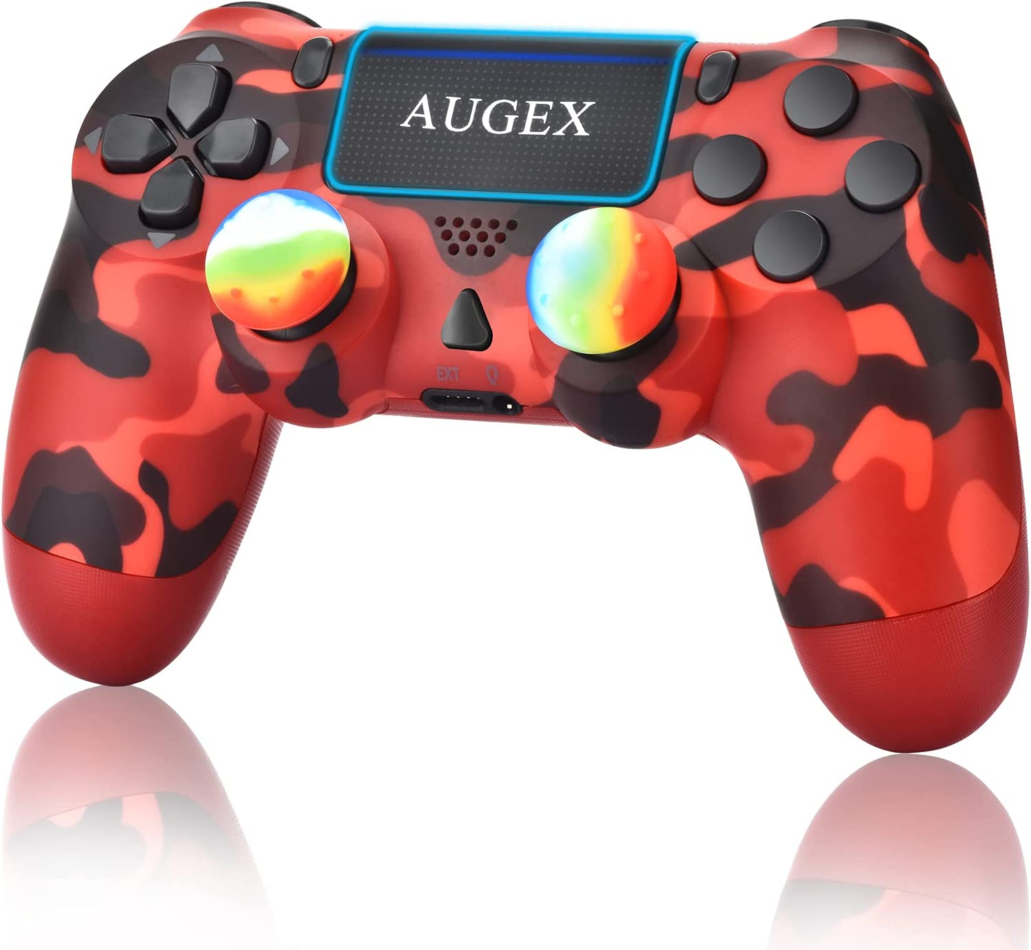 AUGEX Camo Red Wireless Controller, Remote Control with Charging Cable and Two Motors (Camouflage Red)