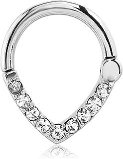 316L Surgical Steel Septum Clicker Hinged Nose Ring Hoop Clear Ear Cartilage Choose Your Gauge