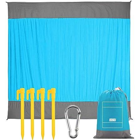 EXTUSD Stranddecke Picknickdecke 210 x 200 cm, Ultraleicht Kompakt Verschleißfest Nylon Strandtuch,Wasserdicht und sandabweisend Campingdecke mit 4 Befestigung Ecken