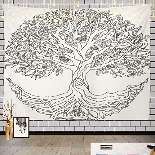 Batmerry Tree of Life Celtic Tapestry, Celtic Tree of Life Picnic Mat Hippie Trippy Tapestry Wall Art Meditation Decor for Bedroom Living Room Dorm, 59.1 x 82.7 Inches, White Tree of Life