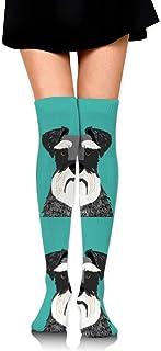18 Almohada para perro Schnauzer con líneas de corte Chica sobre los calcetines hasta la rodilla Muslo Medias altas 65 Cm / 25.6In