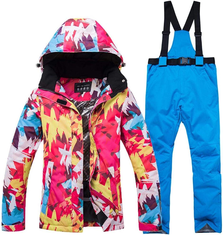 Detachable Hoodie Jacket Coat, Women Outdoor Waterproof Warm Ski Suit Ski Jacket Pants Set, S M L XL