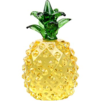 LONGWIN Glass Pineapple Figurine Paperweight Optinal Crystal Prism Pineapple Tabletop Centerpiece Mothers Day