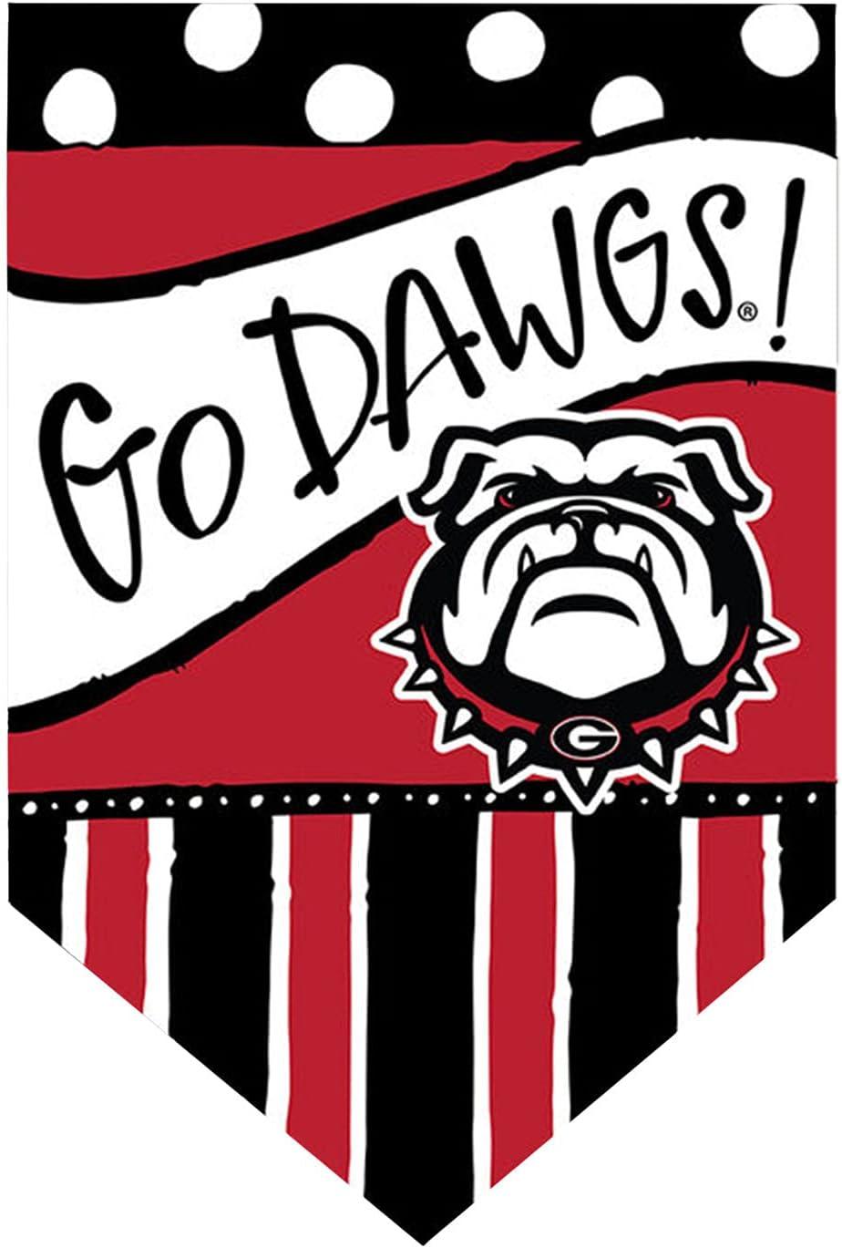 Magnolia Lane University of Georgia Bulldogs Football House Flag, Go Dawgs Dots and Stripes
