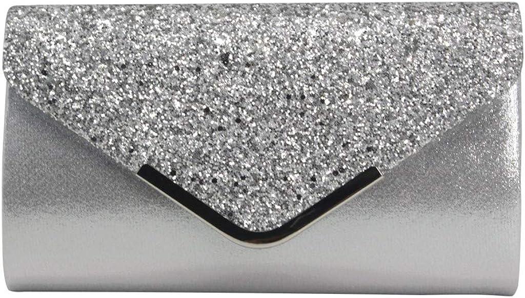 Leewa Women Evening Clutch Metallic Glitter Envelope Magnet Flap Twill Handbag