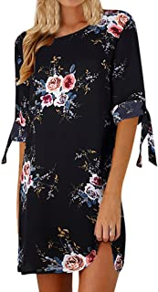 Womens Floral Print Bowknot Sleeves Cocktail Mini Dress Summer Vintage Casual Party Dress