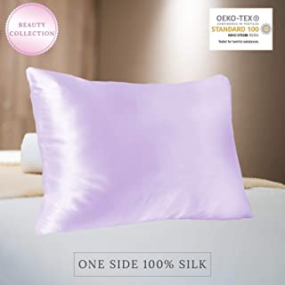 MYK Pure Natural Mulberry Silk Pillowcase, 22 Momme Cotton Underside Hair & Skin, Oeko-TEX, Queen Size, Lavender