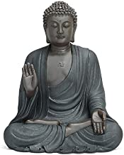 Chinese Sitting Buddha Sculpture, Ceramic Zen Buddha Amitabha, Handmade Buddha Figurine Ornament [ 13Inch Large]
