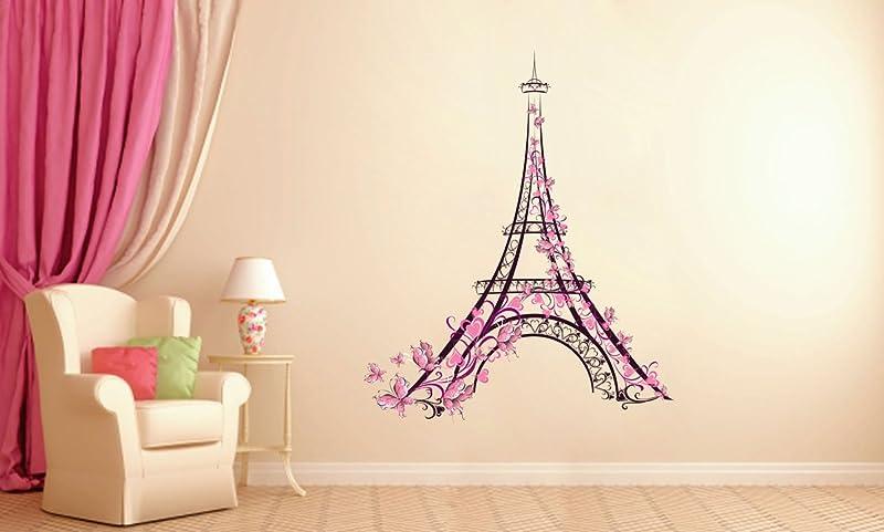 StickersForLife Cik161 Full Color Wall Decal Eiffel Tower Paris Flowers Butterflies Living Room Children S Room