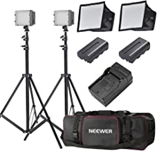 Neewer LED Video Light Kit with 190cm Light Stand, 2-Pack Dimmable 3200K 5500K 160 LED Photo Light Panel Lighting Kit with Large Carry Case Charger Batteries for YouTube Studio Photography Shooting