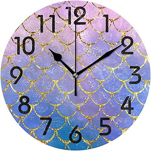 Cy-ril Belle écailles de Poisson sirène Mousseux Imprimer Horloge Murale Ronde fonctionnant sur Batterie Horloge de Bureau silencieuse pour la Maison, Le Bureau, l'école