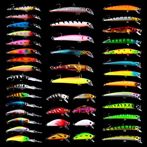 BAIKALBASS Fishing Lures Tackle Kits Hard Baits Minnow Pencil VIB Crankbaits Topwater Floating Lures Assorted Fishing Tackle Sets (006-43pcs)