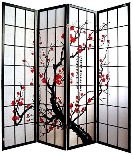 Paravent - Raumteiler - Holz Trennwand Shoji in Natur Reispapier weiß mit 4 Stuecken. Modell Cherry Schwarz Farbe