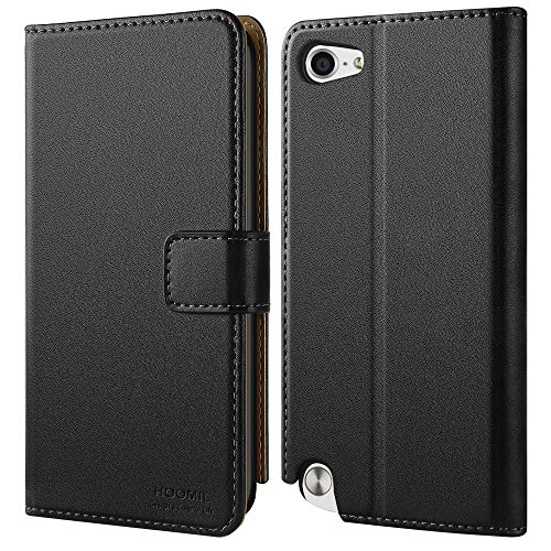 HOOMIL Compatible with iPod Touch 7 Case, iPod Touch 6 Case, iPod Touch 5 Case, Premium Leather Flip Wallet Case for Apple iPod Touch 5th 6th 7th Generation Cover (Black)
