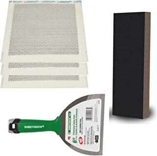 Dry-wall Repair Kit with Peel & Stick Metal & Mesh Patches, Pro Joint/Putty Knife and XL Sanding Sponge (6