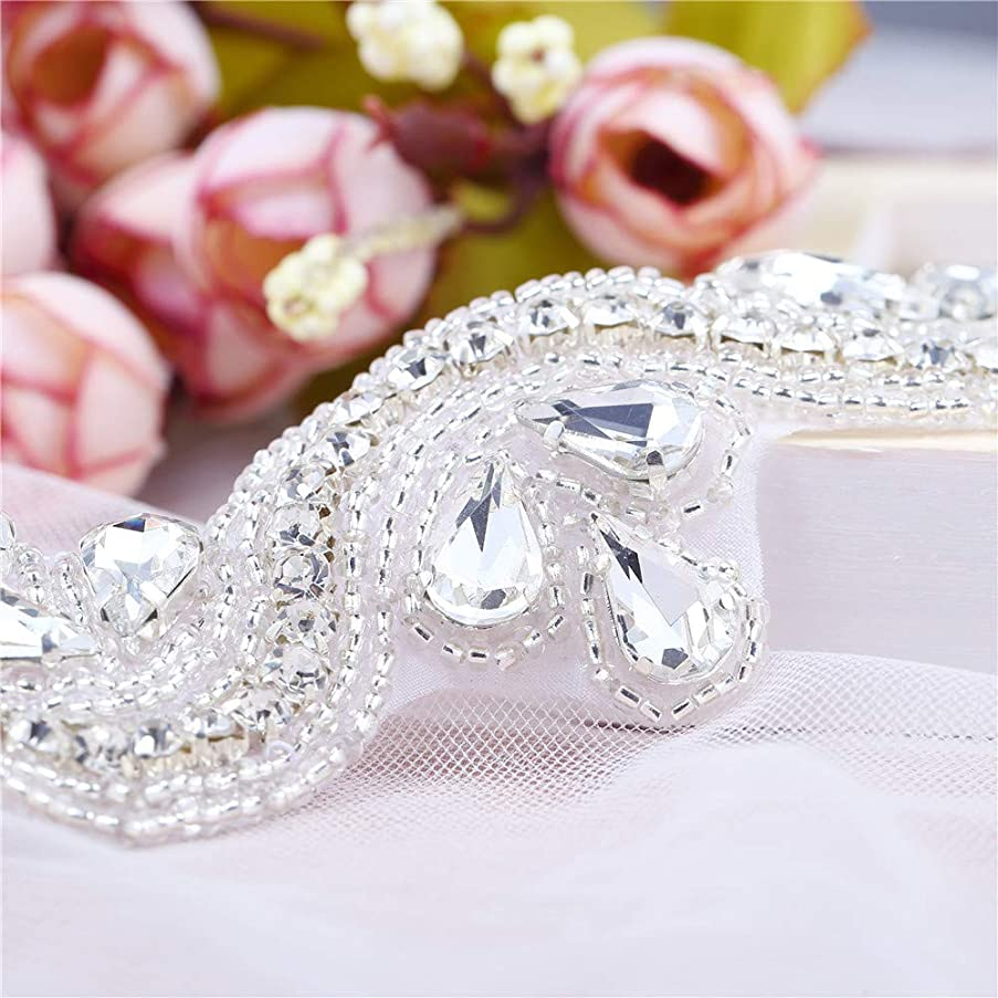 1 Yard Silver Crystal Rhinestone Belt Appliques for Bridal Wedding Dress Bridesmaid Gown, LUCKY GODDNESS Sew Iron on Sparkly Ribbon Sash Appliques for Women's Clothes Accessories (Silver-002)