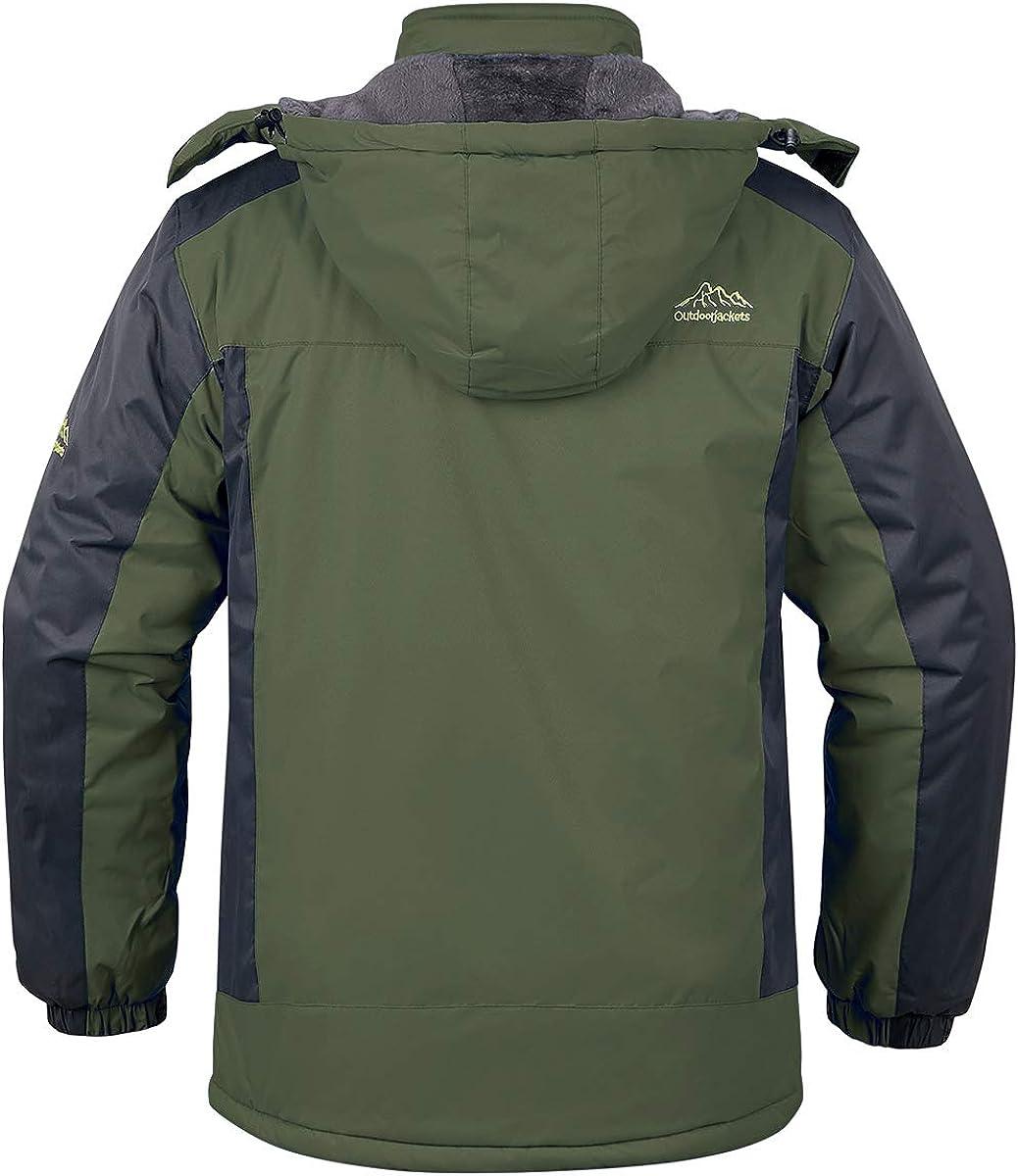 MANSDOUR Mens Ski Jacket Winter Warm Snow Coat Waterproof Fleece Outdoor Windbreaker Hooded Snowboarding Jacket
