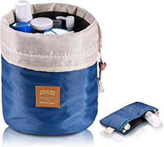 Travel Cosmetic Bags Barrel Makeup Bag,Women&Girls Portable Foldable Cases,euow Multifunctional Toiletry Bucket Bags Round Organizer Storage Pocket Soft Collapsible,Waterproof.(Deep blue)
