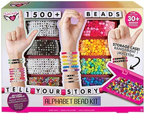 Fashion Angels DIY Alphabet Bead Bracelet Making Kit with Case 12381 1500 Colorful Charms and product image