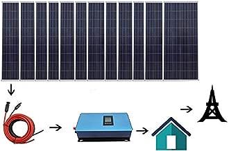 ECO LLC 1800W Home Grid Tie Solar Kit 12pcs 150W Solar Panel & 2000W Power Inverter Charging AC 110V