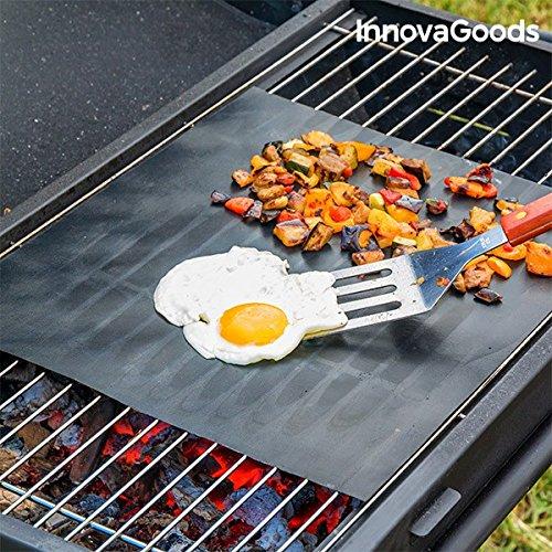 InnovaGoods Tappetino Antiaderente per Forno e Barbecue, in Fibra di Vetro, Nero, 33 x 40 x 2 cm, 2 unità