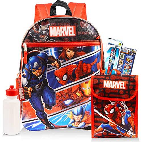 Marvel Avengers Travel Bag Backpack with Avengers Lunch Box for Boys Girls Kids Bundle -- 16' Marvel School Bag Backpack Set with Marvel Lunch Box, Avengers Stickers, Avengers Pens, and More (Marvel Avengers School Supplies)