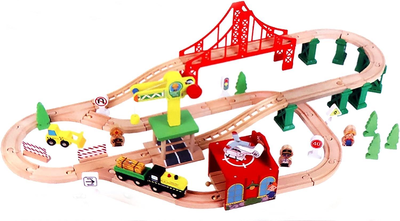 Juego de ferrocarril de madera grande con estación de ferrocarril, grúa, puente, rieles, juego de madera