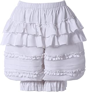 Women's Lolita Bloomers Ruffles Pumpkin Shorts Lace Hem Pantaloons Cute Security Shorts for Girls