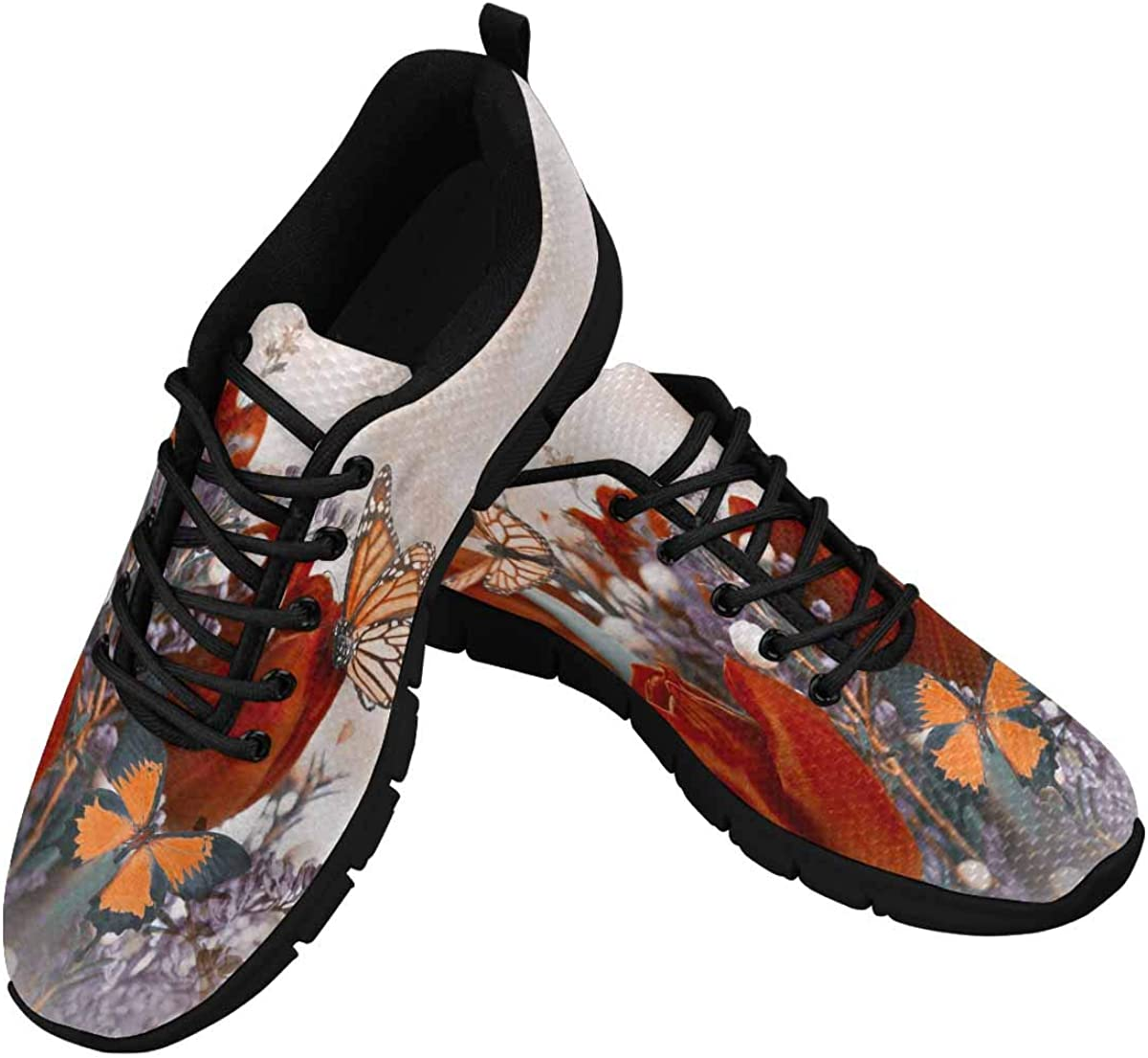 INTERESTPRINT Blue Tulips Mimosa Butterfly Women's Walking Shoes Lightweight Casual Running Sneakers