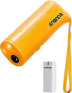 Frienda LED Ultrasonic Dog Repeller & Trainer Device 3 in 1 Anti Barking Stop Bark Handheld Dog Training Device (Yellow)