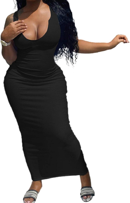 NUFIWI Women Sexy Ribbed Tank Long Dress Deep V Neck Skinny Maxi Dress Slim Fit Club Party Dresses