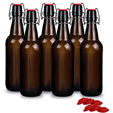 Home Brewing Glass Beer Bottle 6 Pack Easy Wire Swing Cap Airtight Rubber Seal F
