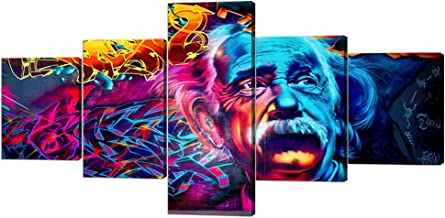 Modern Albert Einstein Wall Art Painting for Living Room Decoration Abstract HD Prints on Canvas Giclee Artwork Stretched by Wooden Frame 5 Panels Prints and Posters Ready to Hang - 50