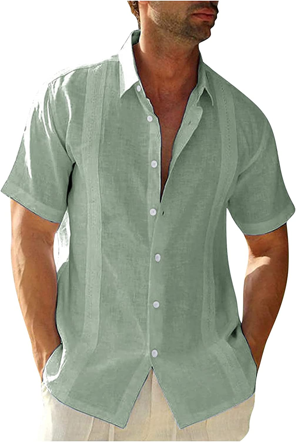 Men's Short Sleeve Shirt Tops Casual Embroidery Edge Solid Turn-Down Collar Blouses