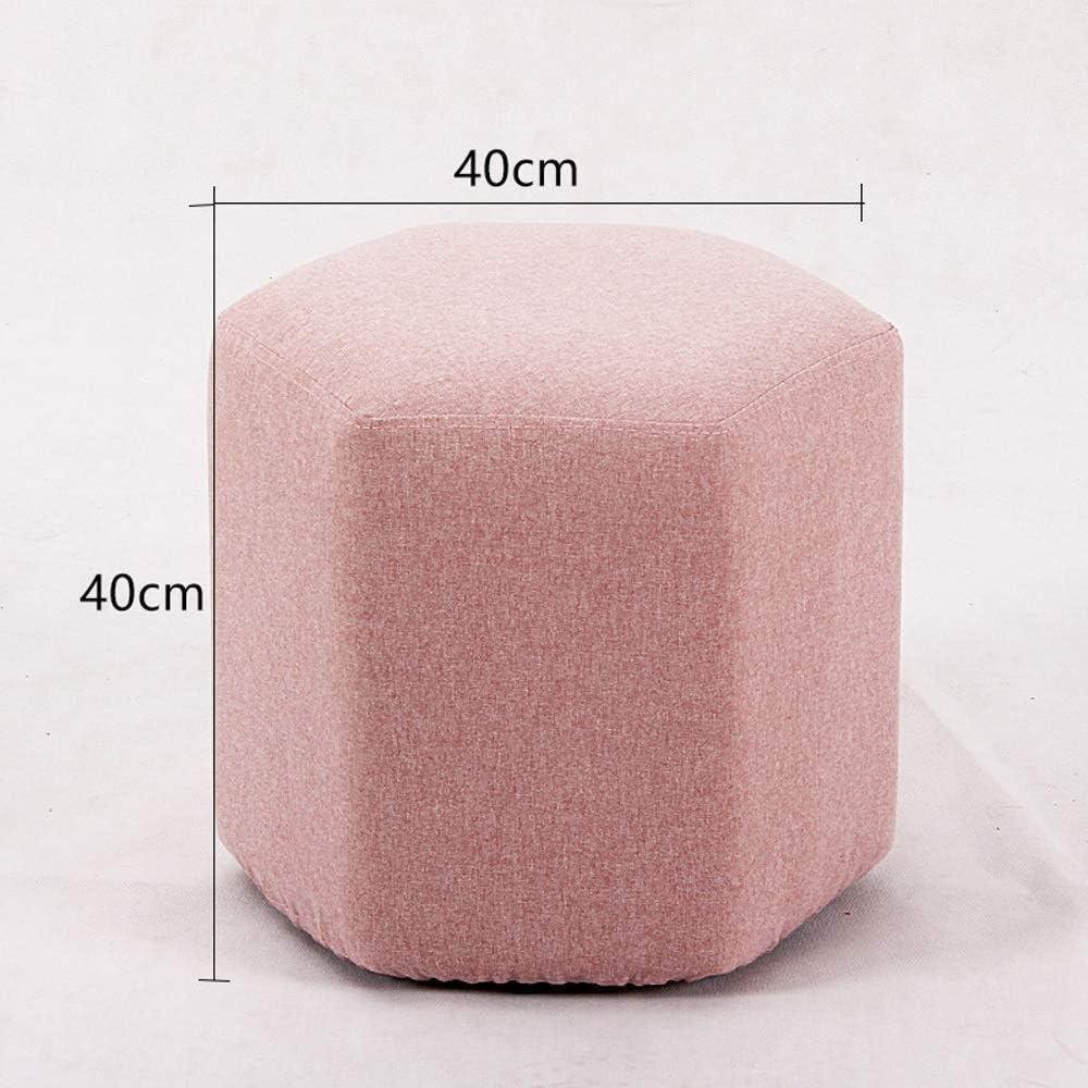 A/N Tabouret de Chambre Chaise ottomane - Tissu Chaussure Banc canapé canapé empilable Housse en Tissu de Stockage Facile à démonter et Nettoyer la Conception hexagonale-Rose Rouge