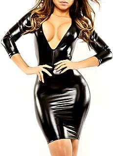 Women's Wet Look Long Sleeve V-Neck Clubwear Black PVC Leather Bandage Dress