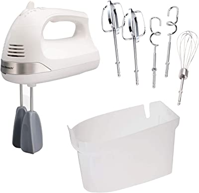 Hamilton Beach Snap-On Case, 7 Attachments Including Dough Hooks and Whisk, White (62636) 6-Speed Electric Hand Mixer with Easy Clean Beaters