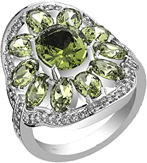2.15ctw, Genuine Moldavite Oval & Solid .925 Sterling Silver Rings
