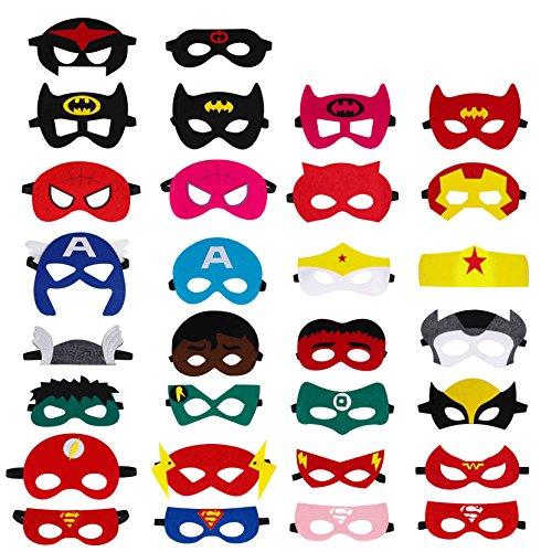 QH-Shop Superhelden Masken, Filz Masken Superhero Cosplay Party Masken Halbmasken mit Elastischen Seil für Erwachsene und Kinder Party Maskerade Multicolor, 30 Stücke