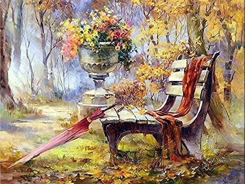 5D Diamond schilderij Kit voor volwassenen bloemen, stoelen, paraplus Cross Stitch borduurwerk mozaïek Home Decor ambachten 40x50cm - ingelijst